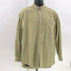Orvis mens flannel shirt green plaid sz L Large